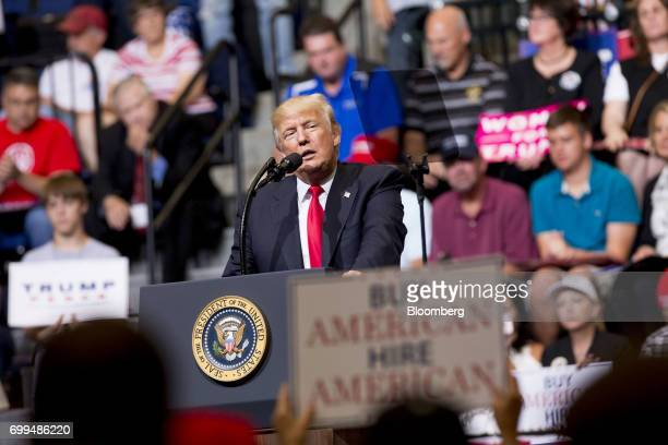 President Donald Trump speaks during a rally in Cedar Rapids Iowa US on Wednesday June 21 2017 Russia canceled talks with a top US official to...
