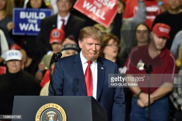 US President Donald Trump speaks during a rally in El Paso Texas on February 11 2019