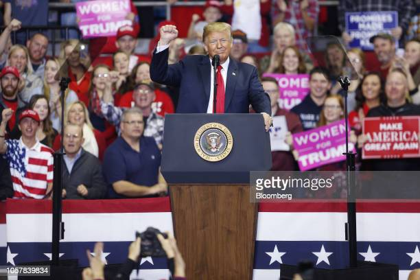 US President Donald Trump speaks during a rally in Fort Wayne Indiana US on Monday Nov 5 2018 Trumpkicked off his last day of campaigning ahead of...