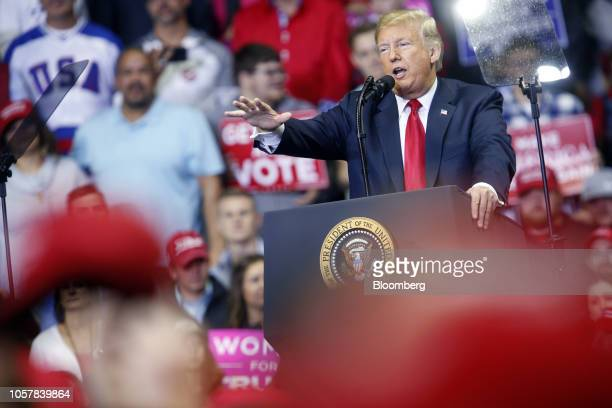 US President Donald Trump speaks during a rally in Fort Wayne Indiana US on Monday Nov 5 2018 Trump kicked off his last day of campaigning ahead of...
