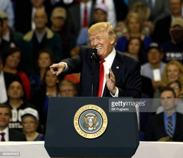 S President Donald Trump speaks during a rally in Freedom Hall at the Kentucky Exposition Center March 20 2017 in Louisville Kentucky