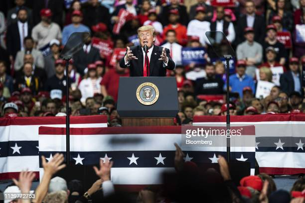 US President Donald Trump speaks during a rally in Green Bay Wisconsin US on Saturday April 27 2019 Trumpon Saturday night revved up his campaign...