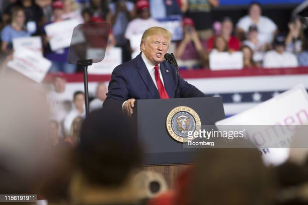 US President Donald Trump speaks during a rally in Greenville North Carolina US on Wednesday July 17 2019 Trumpissued his most extensive criticism...