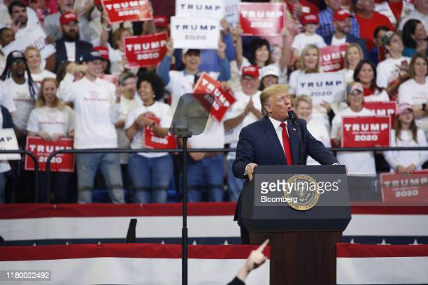 President Donald Trump speaks during a rally in Lexington, Kentucky, U.S., on Monday, Nov. 4, 2019. President Trumpencouraged his supporters in...