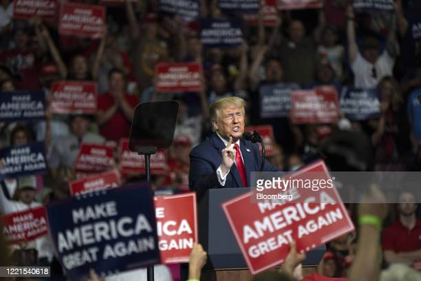 President Donald Trump speaks during a rally in Tulsa, Oklahoma, U.S., on Saturday, June 20, 2020. Trump's first campaign rally since the coronavirus...