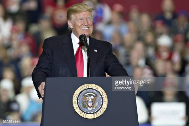 US President Donald Trump speaks during a rally in Washington Michigan US on Saturday April 28 2018 Trumptook on most of his usual targets at a...