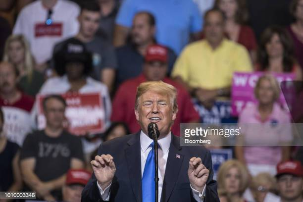 US President Donald Trump speaks during a rally in WilkesBarre Pennsylvania US on Thursday Aug 2 2018 Trump tweeted Thursday that Pennsylvania has to...