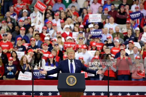 President Donald Trump speaks during a rally on January 14, 2020 at UWMilwaukee Panther Arena in Milwaukee, Wisconsin. Trump, who is the third...