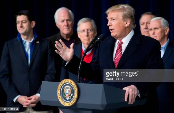 US President Donald Trump speaks during a retreat with Republican lawmakers and members of his Cabinet at Camp David in Thurmont Maryland January 6...