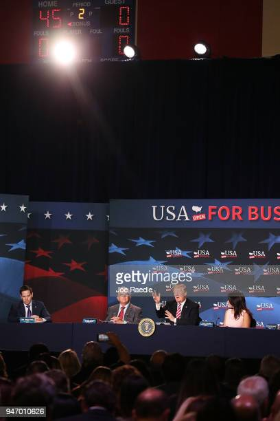 S President Donald Trump speaks during a roundtable discussion about the Republican $15 trillion tax cut package he recently signed into law on April...