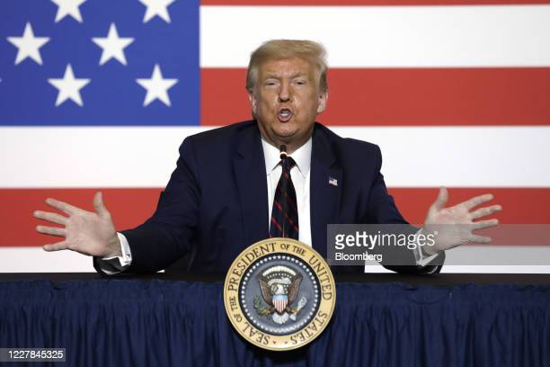 President Donald Trump speaks during a roundtable discussion at the American Red Cross National Headquarters in Washington, D.C., U.S., on Thursday,...