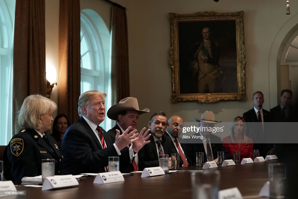 President Trump Hosts Roundtable On Border Security In Cabinet Room Of White House : News Photo