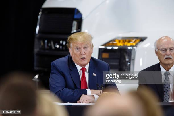 US President Donald Trump speaks during a roundtable discussion on the economy and tax reform in Burnsville Minnesota US on Monday April 15 2019...