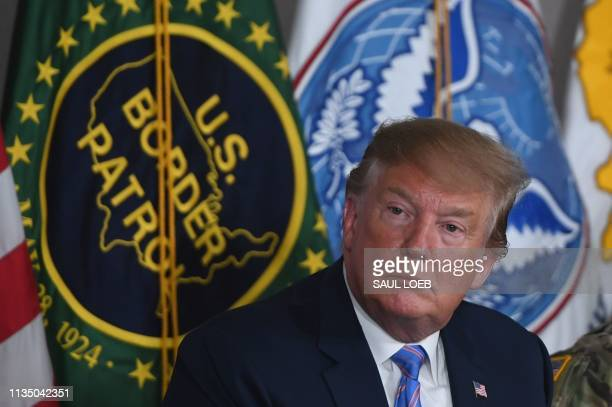 US President Donald Trump speaks during a roundtable on immigration and border security at the US Border Patrol Calexico Station in Calexico...