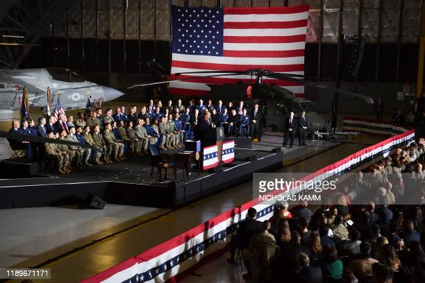 """President Donald Trump speaks during a signing ceremony on S.1790, the """"National Defense Authorization Act for FY2020"""" at Joint Base Andrews,..."""
