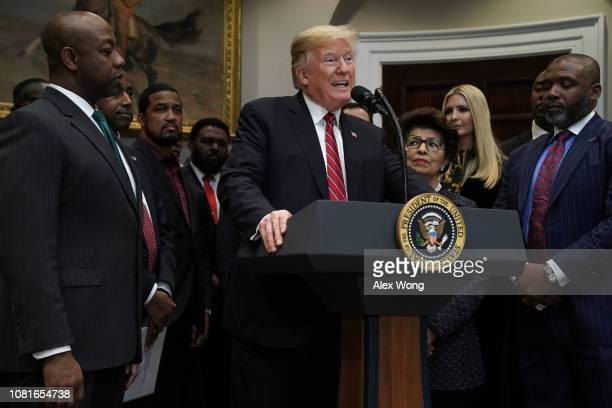 S President Donald Trump speaks during a signing event of an executive order to establish the White House Opportunity and Revitalization Council look...