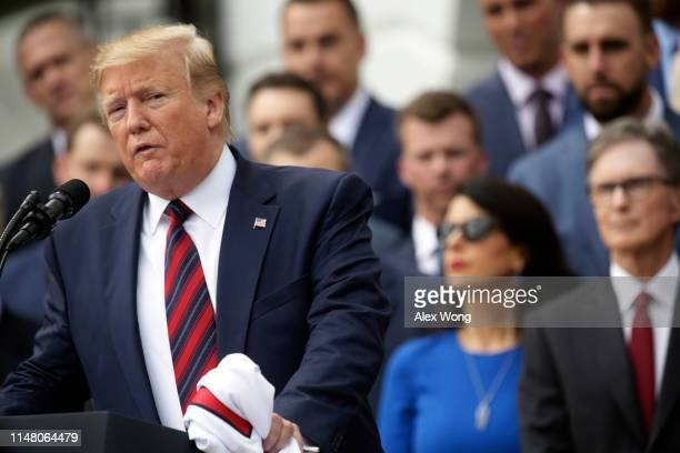 S President Donald Trump speaks during a South Lawn event to honor the Boston Red Sox at the White House May 9 2019 in Washington DC President Donald...