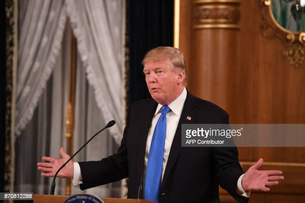 US President Donald Trump speaks during a state banquet dinner with Japanese Prime Minister Shinzo Abe in Tokyo on November 6 2017 Donald Trump...