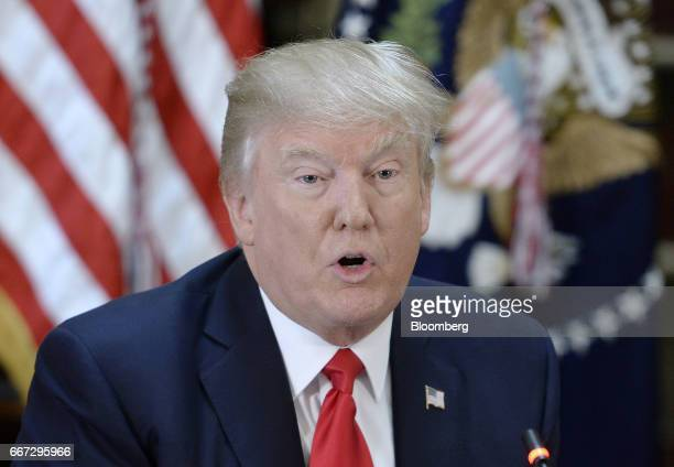 US President Donald Trump speaks during a strategic and policy discussion with executives at the White House in Washington DC US on Tuesday April 11...