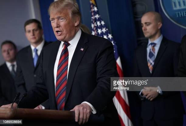 S President Donald Trump speaks during a surprise visit to the James Brady Press Briefing Room of the White House with representatives of National...