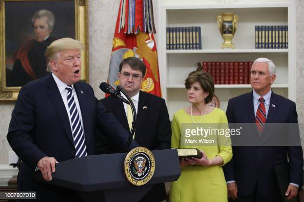 US President Donald Trump speaks during a swearingin ceremony for Robert Wilkie to become Secretary of the Department of Veterans Affairs in the Oval...
