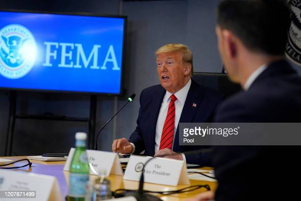 President Donald Trump speaks during a teleconference with governors at the Federal Emergency Management Agency headquarters on March 19, 2020 in...