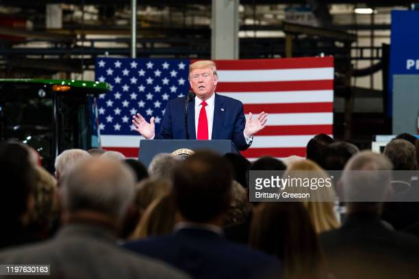 President Donald Trump speaks during a visit to Dana Incorporated, an auto-manufacturing supplier, on January 30, 2020 in Warren, Michigan. During...