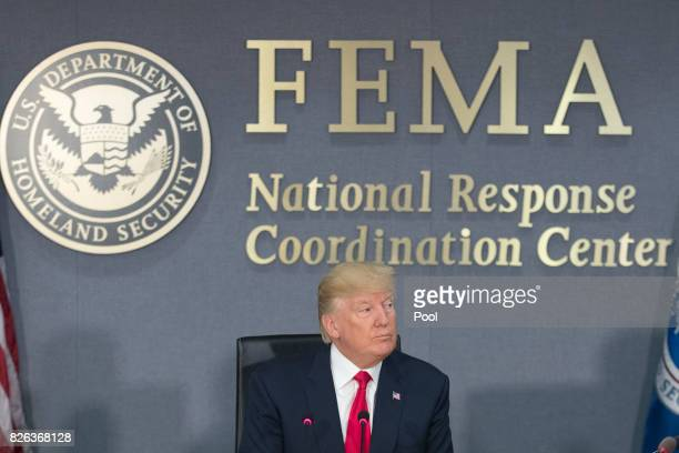 President Donald Trump speaks during a visit to Federal Emergency Management Agency headquarters on August 4, 2017 in Washington, DC. Trump visited...