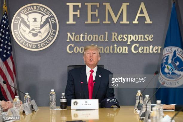 US President Donald Trump speaks during a visit to Federal Emergency Management Agency headquarters on August 4 2017 in Washington DC Trump visited...