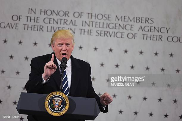 US President Donald Trump speaks during a visit to the Central Intelligence Agency in Langley Virginia on January 21 2017 / AFP / MANDEL NGAN