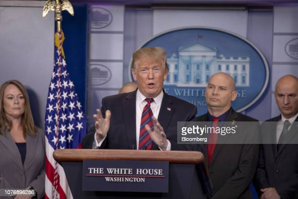US President Donald Trump speaks during a White House press briefing with representatives of the National Border Patrol Council in Washington DC US...