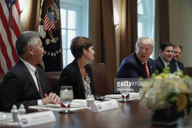 US President Donald Trump speaks during a working lunch with governors on workforce freedom and mobility in the Cabinet Room of the White House in...