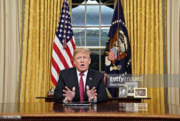 US President Donald Trump speaks during an address on border security in the Oval Office of the White House in Washington DC US on Tuesday Jan 8 2019...