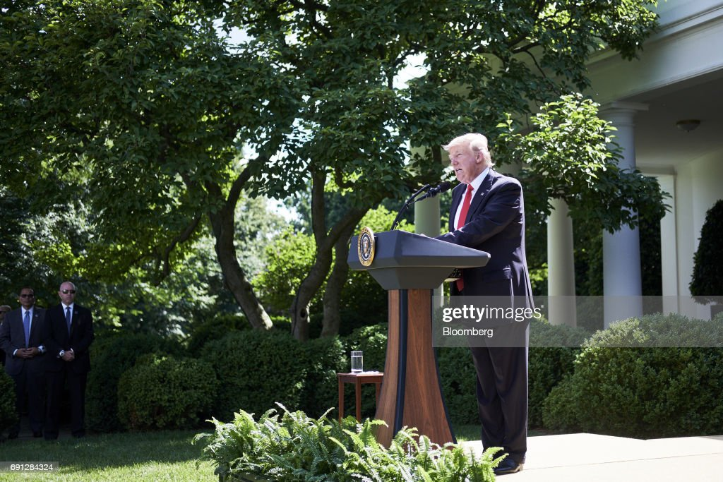 U.S. President Donald Trump speaks during an announcement in the Rose Garden of the White House in Washington, D.C., U.S., on Thursday, June 1, 2017. Trump announced the U.S. would withdraw from the Paris climate pact and that he will seek to renegotiate the international agreement in a way that treats American workers better.Photographer: T.J. Kirkpatrick/Bloomberg via Getty Images