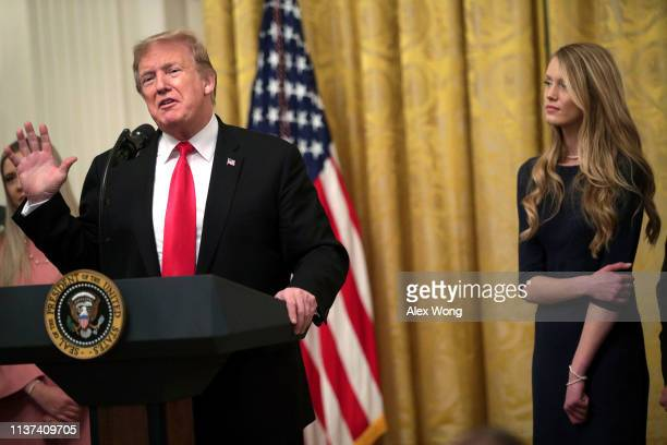 S President Donald Trump speaks during an East Room event at the White House March 21 2019 in Washington DC President Trump signed the executive...