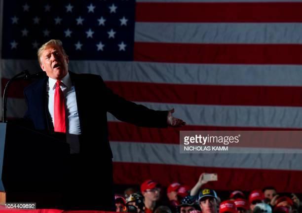 US President Donald Trump speaks during an election rally in Murphysboro Illinois on October 27 2018