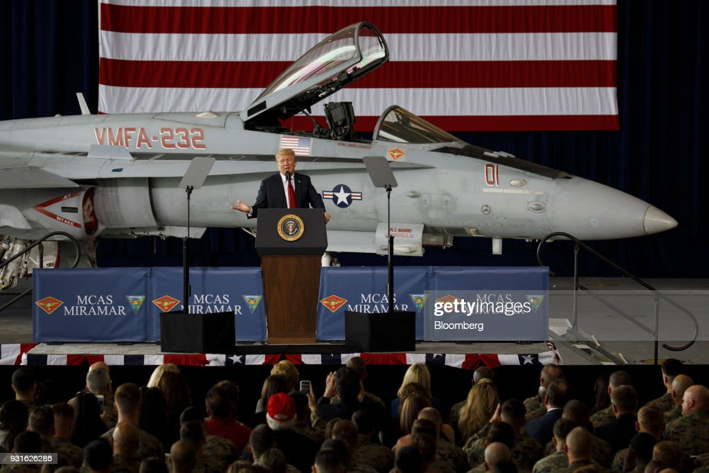U.S. President Donald Trump speaks during an event at Marine Corps Air Station Miramar in San Diego, California, U.S., on Tuesday, March 13, 2018. Trump traveled to opposition territory -- California -- to fire up support for a wall along the U.S.-Mexico border, a project that has encountered resistance in Congress. Photographer: Patrick T. Fallon/Bloomberg via Getty Images