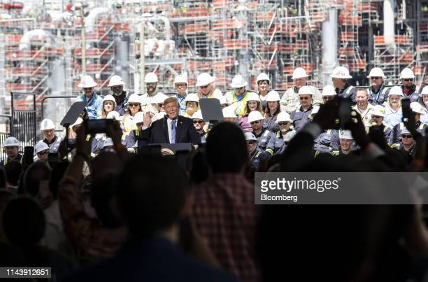 US President Donald Trump speaks during an event at the Cameron LNG LLC export terminal in Hackberry Louisiana US on Tuesday May 14 2019...