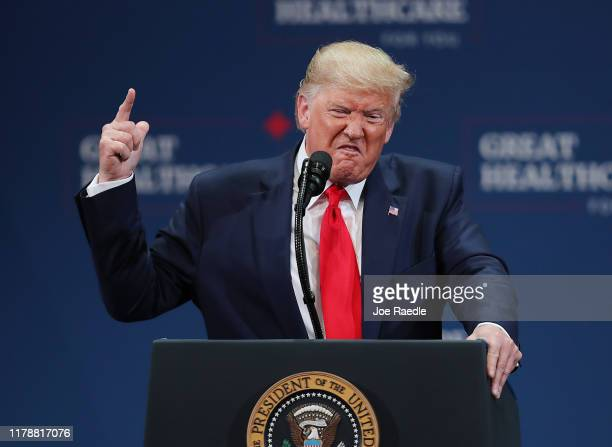 S President Donald Trump speaks during an event at the Sharon L Morse Performing Arts Center in The Villages on October 03 2019 in The Villages...