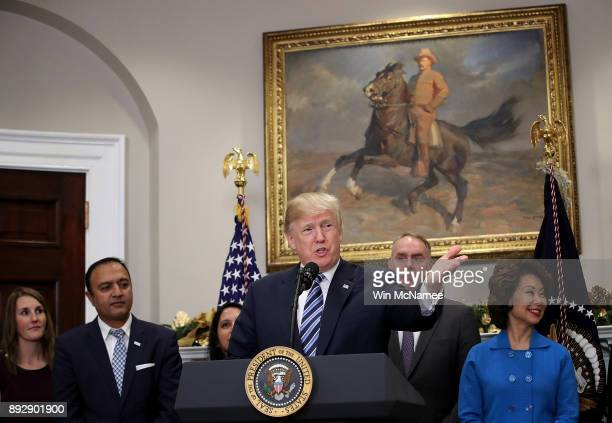 S President Donald Trump speaks during an event at the White House promoting the administrationÕs efforts to decrease federal regulations December 14...