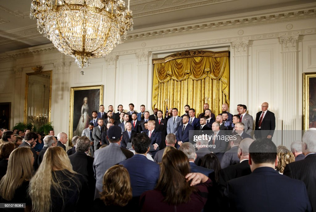 U.S. President Donald Trump speaks during an event honoring the 2017 World Series Champion Houston Astros at the White House in Washington, D.C., U.S. on Monday, March 12, 2018. While some professional sports athletes have snubbed him, Trump welcomed the Houston Astros to the White House Monday and thanked them as a class act. Photographer: Joshua Roberts/Bloomberg via Getty Images