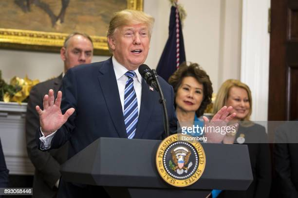 US President Donald Trump speaks during an event in the Roosevelt Room of the White House Thursday Dec 14 2017 Trump trumpeted his effort to slash...