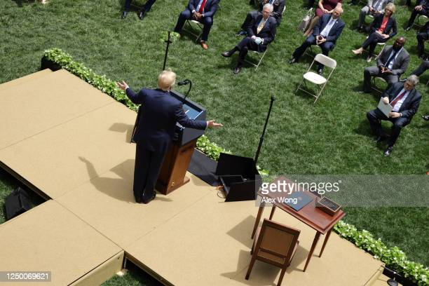 """S President Donald Trump speaks during an event in the Rose Garden on """"Safe Policing for Safe Communities"""" at the White House June 16 2020 in..."""