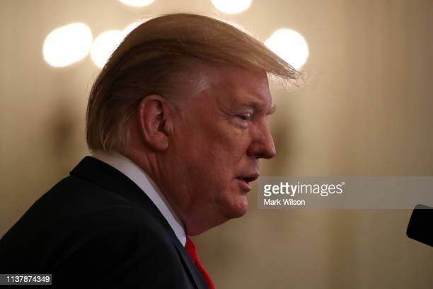 S President Donald Trump speaks during an event recognizing the Wounded Warrior Project Soldier Ride in the East Room of the White House April 18...