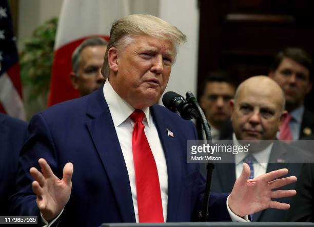 S President Donald Trump speaks during an event where USJapan trade agreements were signed at the White House on October 7 2019 in Washington DC...