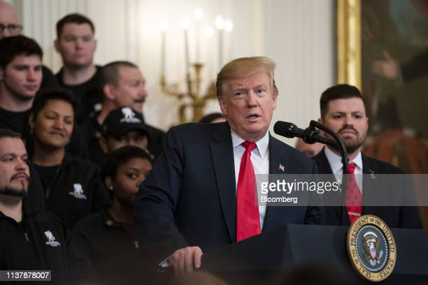 US President Donald Trump speaks during an event with wounded warriors at the White House in Washington DC US on Thursday April 18 2019 Trumpsaid...