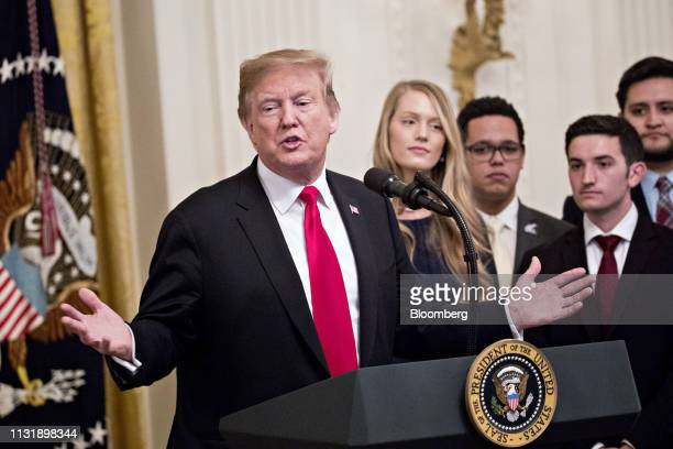 US President Donald Trump speaks during an executive order signing event in the East Room of the White House in Washington DC US on Thursday March 21...