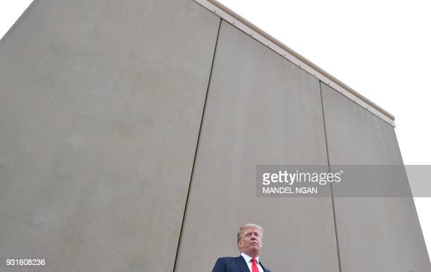 President Donald Trump speaks during an inspection of border wall prototypes in San Diego California on March 13 2018 Donald Trump making his first...