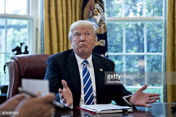 US President Donald Trump speaks during an interview in the Oval Office of the White House in Washington DC US on Monday May 1 2017 Trump said he...