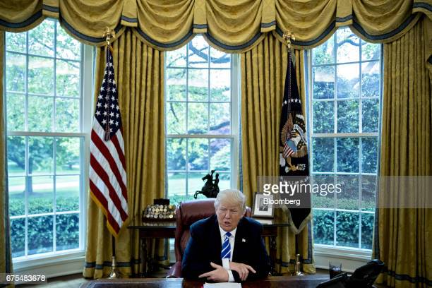 US President Donald Trump speaks during an interview in the Oval Office of the White House in Washington DC US on Monday May 1 2017 Trumpsaid he...